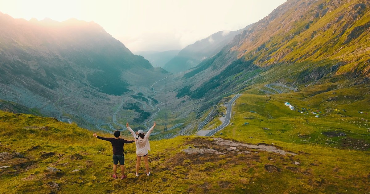 Happy couple in the mountains